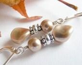 Swarovski Twist Pearl Earrings in Bronze with Leverbacks. Light Brown. Beige. Classic. Neutral. Tan. Gift.