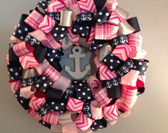 Preppy Nautical Wreath Navy and Pink Anchor wreath