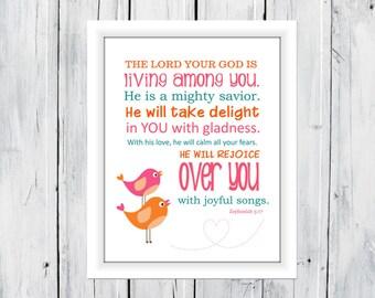 Bible Verse Print Zephaniah 3:17 Print
