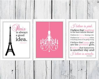 Paris is Always A Good Idea and I Love Pink set 3 11x14 Prints Audrey Hepburn Quote Dorm Decor
