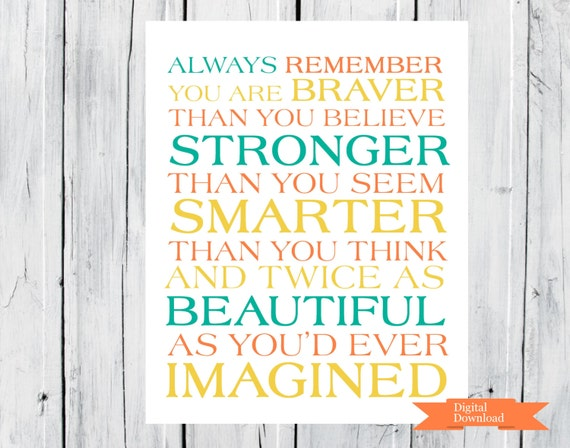 Always remember...You Are Braver Printable PDF Any Size