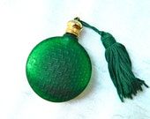 Vintage Perfume Bottle Round Emerald Green Textured Satin Glass Vanity Art Deco Travel Pursette with Tassel - Perfect - ODONA