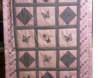 Snow Leopard Butterfly Baby/Toddler Quilt