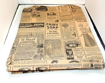 50 Vintage Large 12x15 inch  Newsprint Bags, Vintage Newspaper Kraft Party Merchandise Bags,  Photo size #30 weight Gift paper Favor Bags