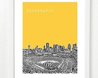 Pittsburgh Skyline Poster  - Pittsburgh Pennsylvania State City Art Print - VERSION 2