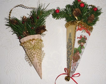 Vintage Christmas Ornaments - 2 Victorian Style Cone Decorations