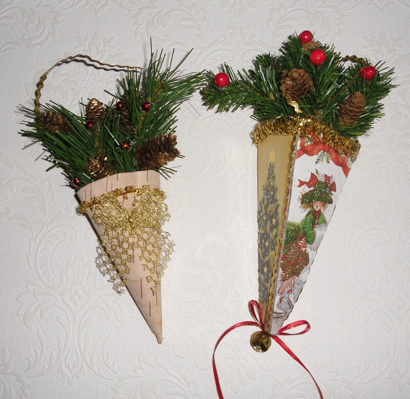 Vintage Christmas Ornaments 2 Victorian Style Cone