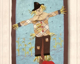 """PATTERN """"Scarecrow's Country Hang-Out"""" wool applique' wall hanging pattern"""