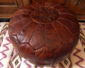 MOROCCAN POUF :hand stitched / embroidered Natural brown tan BR st