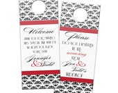 Traditional Classic Damask Pattern with calligraphy script Door Hangers - Custom Wedding Bridal Privacy Door Hanger for Guests or Favors