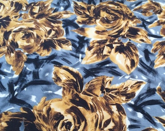 "SWATCH 3"" x 7"" BIG - Abstract Flower Print Jersey Fabric - F-31-13"