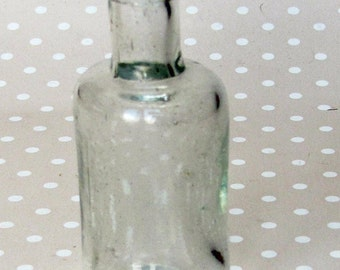 Vintage Retro Small Clear Glass Bottle - Kath