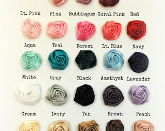 Set of 15 - PETITE rolled satin rosette buds - YOUR CHOICE of 23 Colors