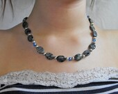 Natural Stone Necklace, Larvikite oval beads, blue Swarovski crystals, silver beads and toggle loop closure