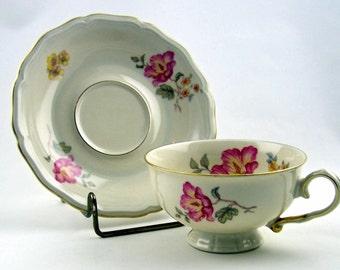 Vintage Teacup Set Rare Johann Haviland Floral Pattern Bavaria