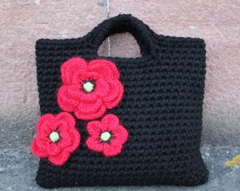 CROCHET PATTERN - Ladies crochet  Purse with Poppies pattern - Listing38