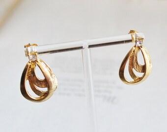 Vintage Gold Rhinestone Earrings, Gold Stud Earrings