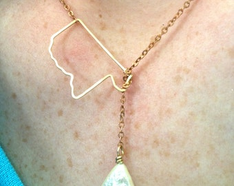 Mississippi Delta Lariat in Copper and Bronze, Mississippi state necklace, Delta necklace, hammered mississippi jewelry, Delta pearl lariat