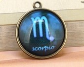 1pcs Scorpio Drop Ear CONSTELLATION Pendant Base bronze  Victorian Pendant 22mm Cabochon 20mm Charm beads for  handmade jewelry