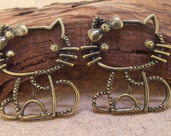 3 Beads Charm Big kitty cat Pendant bronze Plated Victorian Pendants Beads ----- 38mmx 34mm ----- 3Pieces 2O