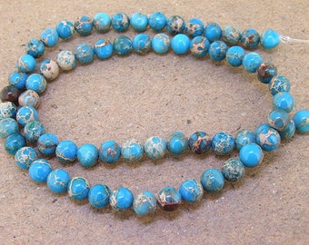 "One Full Strand --- Sea Blue Emperor stone Beads ----- 6mm ----- about 65Pieces ----- gemstone beads--- 16"" in length"