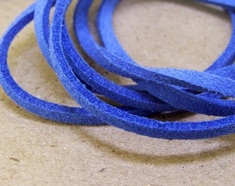 """10 yard 390"""" Fauxwool Suede  Blue Leather Cord  Quality  Jewelry Line 3mm Necklace Cord Bracelet Cord Jewelry Cord  handwork jewelry Line"""