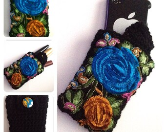 Sale WAS 17.99 NOW only 12.99 designer womens,teens phone case,coin purse,make up case hand crochet/knitted rainbow,fabric flower embroidery