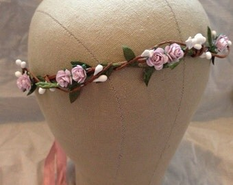 Tinkerbell's white berry and  pink rose hair wreath crown hairpiece fairy boho bridal weddings nature woodland
