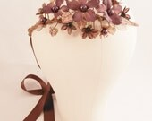 PRISCILLA Purple Plum Vintage Bead Flower Wreath Bridal Headpiece Woodland Boho Rustic