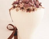 PRISCILLA Purple Plum Vintage Bead Flower Wreath Bridal Headpiece Woodland Boho Rustic