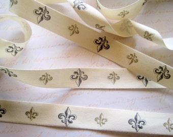 """French Fleur De Lis Canvas Ribbon Trim, Gold / Black/ Ivory, 3/4"""" inch wide, 1 yard, For Scrapbook, Mixed Media, Home Decor,Stationery"""