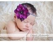 Violet Silk Baby Flower Headband, Newborn Headband, Baby Girl Flower Headband, Photography Prop