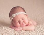 Tan Petite Rosette Baby Headband, Newborn Headband, Baby Girl Flower Headband, Photography Prop