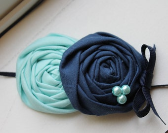 Aqua and Navy Rosette Baby Flower Headband, Newborn Headband, Baby Girl Flower Headband, Photography Prop