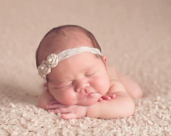 Tan Petite Rosette Baby Headband, Newborn Headband, Baby Girl Flower Headband, Photography Prop