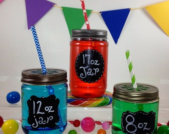 12-  CLEAR 17oz  Plastic Mason Jars with Daisy Cut Lids - Choose from 3 Different Lid Colors, Candle making, Kids Crafts