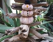 sea urchin snowman ornament