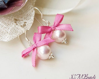 Pale Pink Kids Pearl Earrings With Hot Pink Silk Bow Sterling Silver Children Earrings Girls Kids Jewelry Gift for Girl