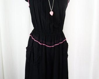 90s Moschino black flapper style dress/ pink top stitching/ 2 layers chiffon: us size Medium (8-10)