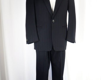 80s GIANNI VERSACE Couture mens  black pinstripe suit/ heavy weight/ medusa head/ iconic Greek key : Mens US 41-42 R