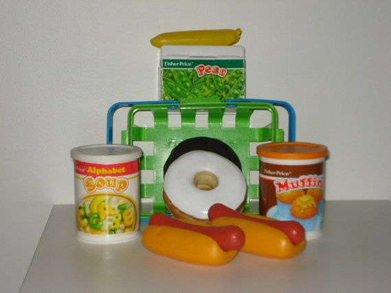 Vintage play food toys shopping basket and by - Cuisine fisher price bilingue ...