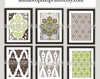 Vintage / Modern Inspired Art Prints Collection -Set of 6 - 8x11 Prints  - Featured in Green Taupe Brown White (UNFRAMED)