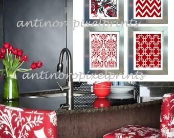 Red Grey Black White Greys Unframed Kitchen Utensils Art Collection  Set Of  (4)