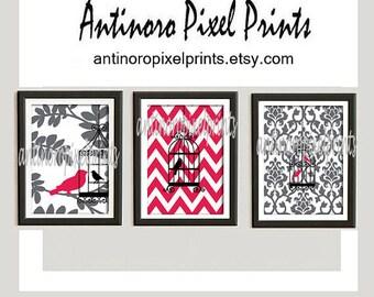 Digital Print Wall Art Bird Prints Vintage / Modern inspired Art  -Set of 3 - 8 x 10 Prints - Red White Grey Black Color (UNFRAMED)