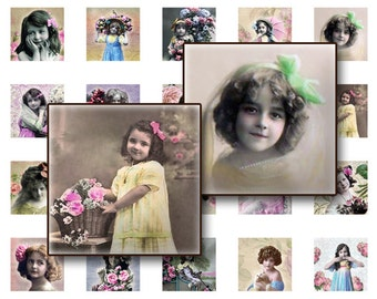 BUY 1 GET 1 FREE - Kids vintage Collage Sheet Digital Collage sheet 1x1 inch for jewelry square pendants & magnets  digital collage shee