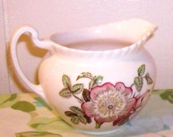 Rare Johnson Brothers China Creamer, gravy boat, Old Flower Prints, Johnson Bros Englishware, Pink Wild Rose