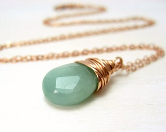 Amazonite Necklace, 14k Rose Gold Filled Seafoam Green Gemstone Necklace Pink Gold Amazonite Pendant Necklace Wire Wrapped