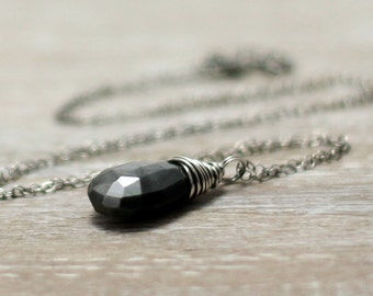 Cat's Eye Necklace, Oxidized Sterling Silver Black Gemstone Necklace Cat's Eye Sillimanite Pendant Wire Wrapped