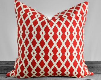Robert Allen Fret  Pomegranate Pillow Cover - Red and White - 16x16, 18x18, 20x20, 22x22