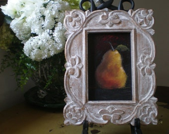 A Pear on Canvas with Carved Wood Frame